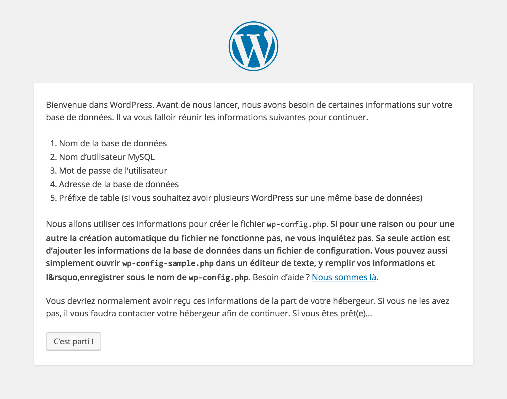 Configuration bases de données WordPress