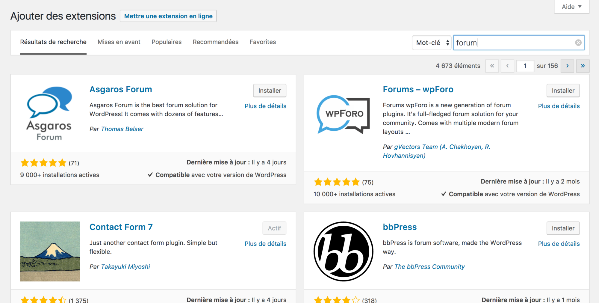Rechercher une extension dans le répertoire de plugins WordPress