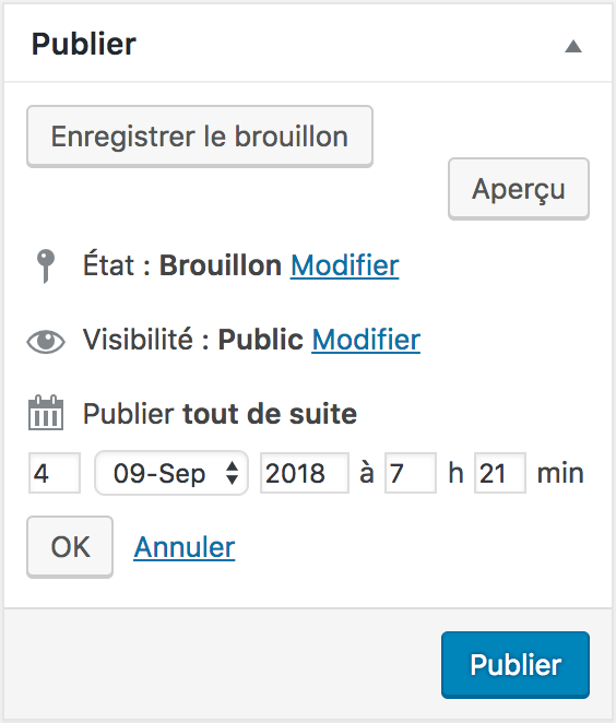 Confirmer la date de publication de votre article