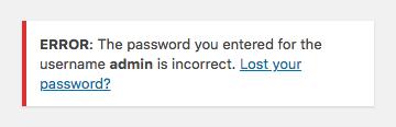 ERREUR : Le mot de passe que vous avez saisi pour ce nom d'utilisateur admin est incorrect