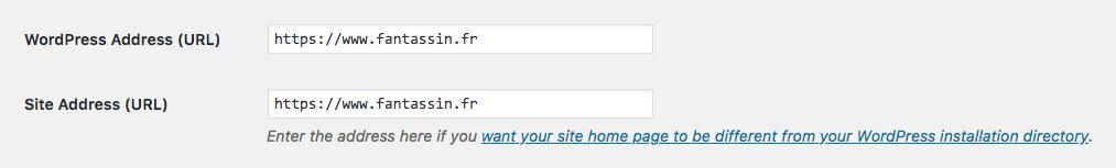 Réglages WordPress avec HTTPS